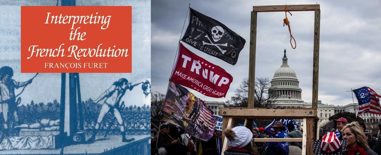 Book on French Revolution next to gallows at US Capitol from January 6 insurrection.