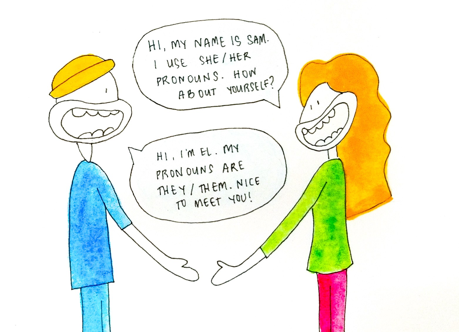 Drawing of two people meeting