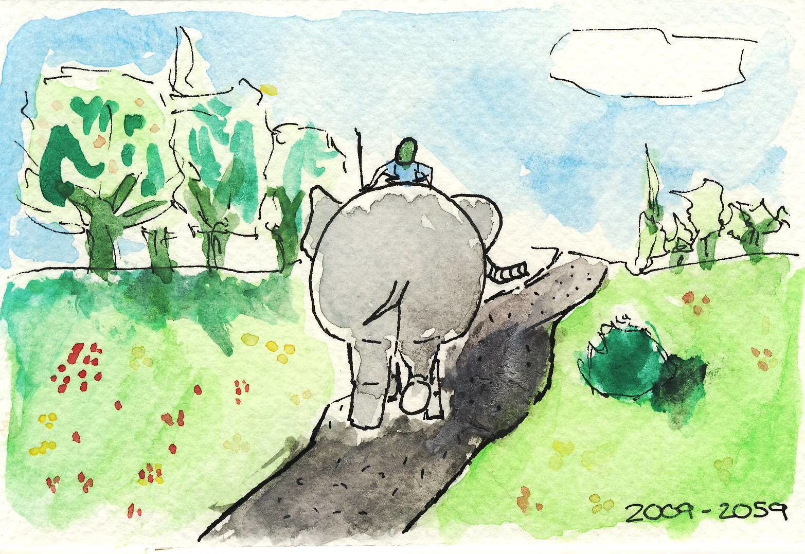 The rider, the elephant, and the path.