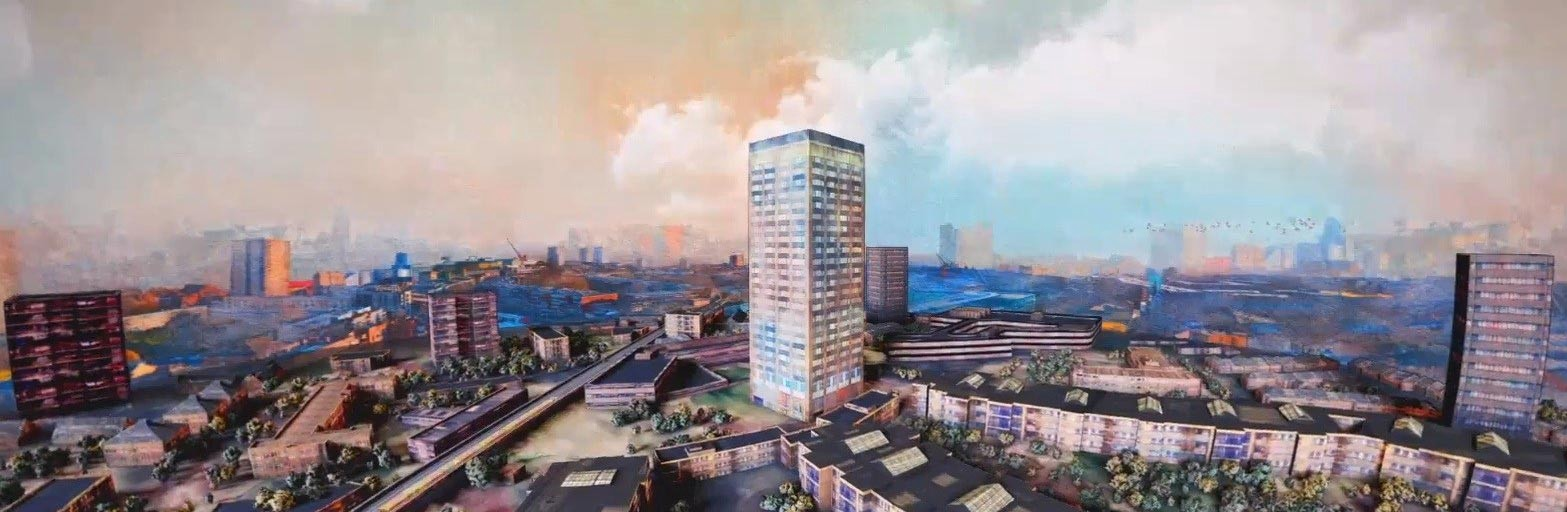 Image from the Artists for Grenfell website (possibly watercolour), of the area, pre-tragedy, with the tower in the centre.