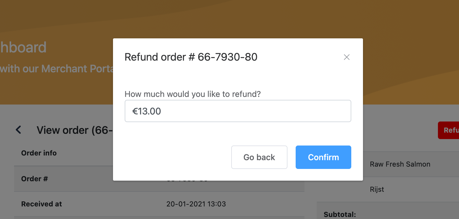 Bistroo merchant dashboard partial refund