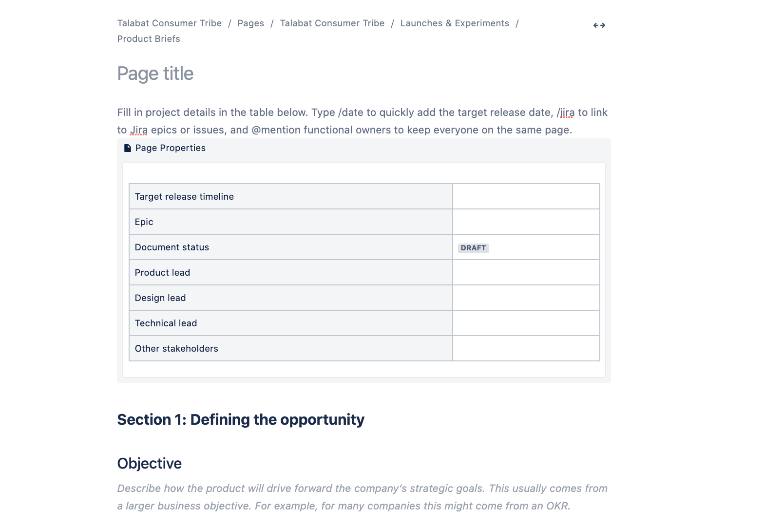 Our Product Brief template in Confluence