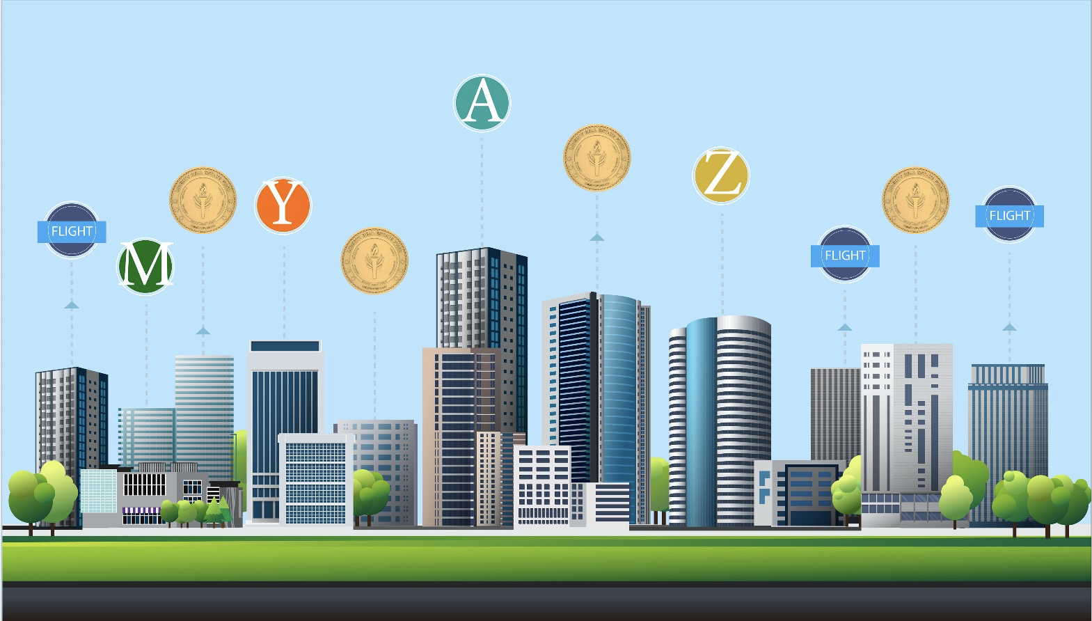 Commercial real estate buildings tokenized with security token symbols connected in the air above them.