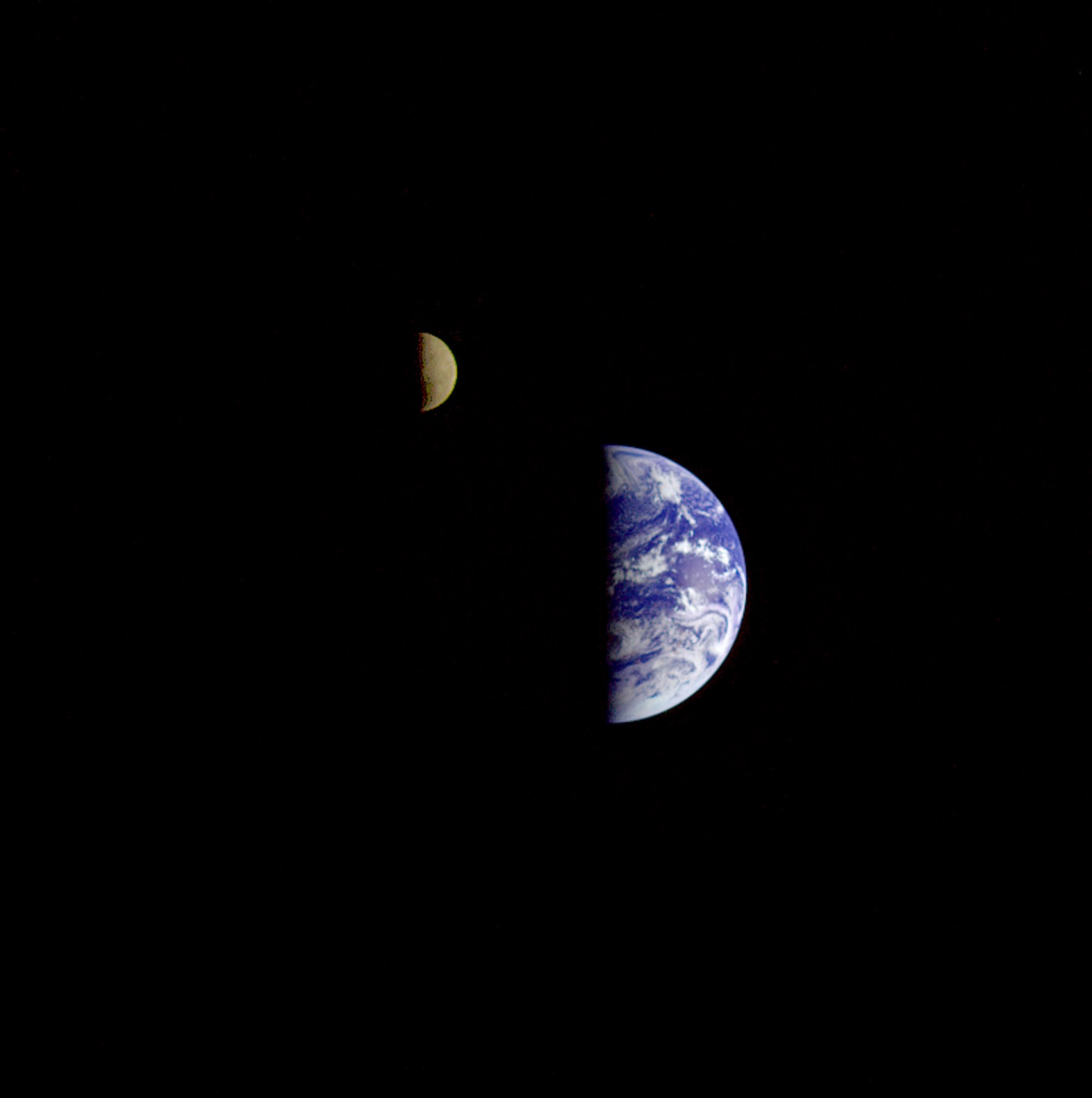 Real photo of Earth Moon as seen by Galileo spacecraft