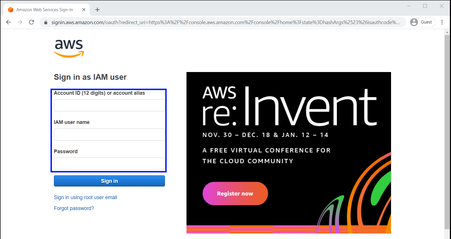 Login to AWS console as IAM user