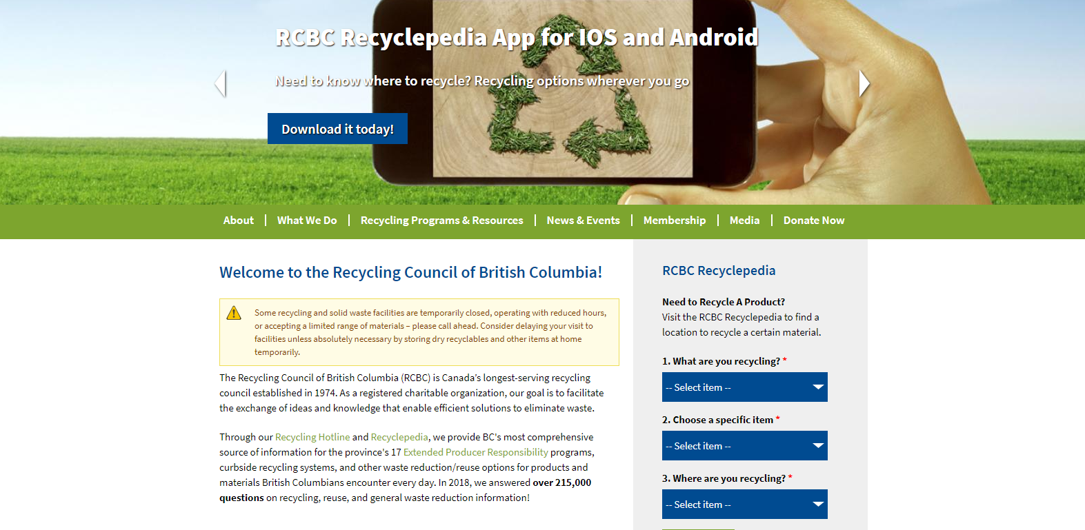Screenshot of the homepage of the Recycling Council of BC.