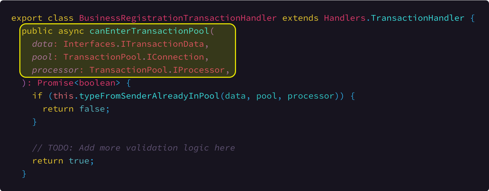 Implementation sample of the canEnterTransactionPool method. Link To Source Code