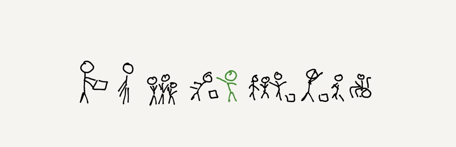A group of stick figures collaborating in various ways, with a green stick figure in the middle (the designer) participating.