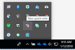 Windows 10 task bar with quick note selected