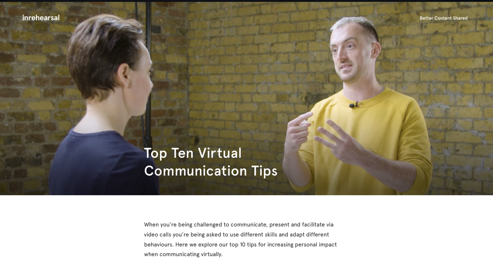 A screenshot of an article called Top Ten Virtual Communication Tips, showing two people speaking