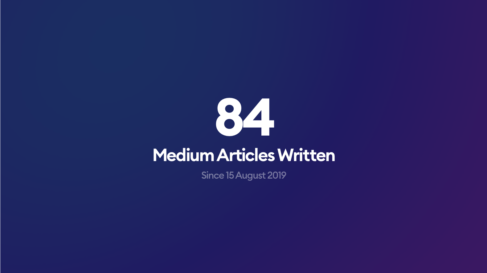84 articles in 84 weeks