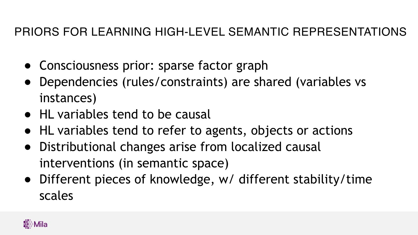 PRIORS for learning high-level semantic representations