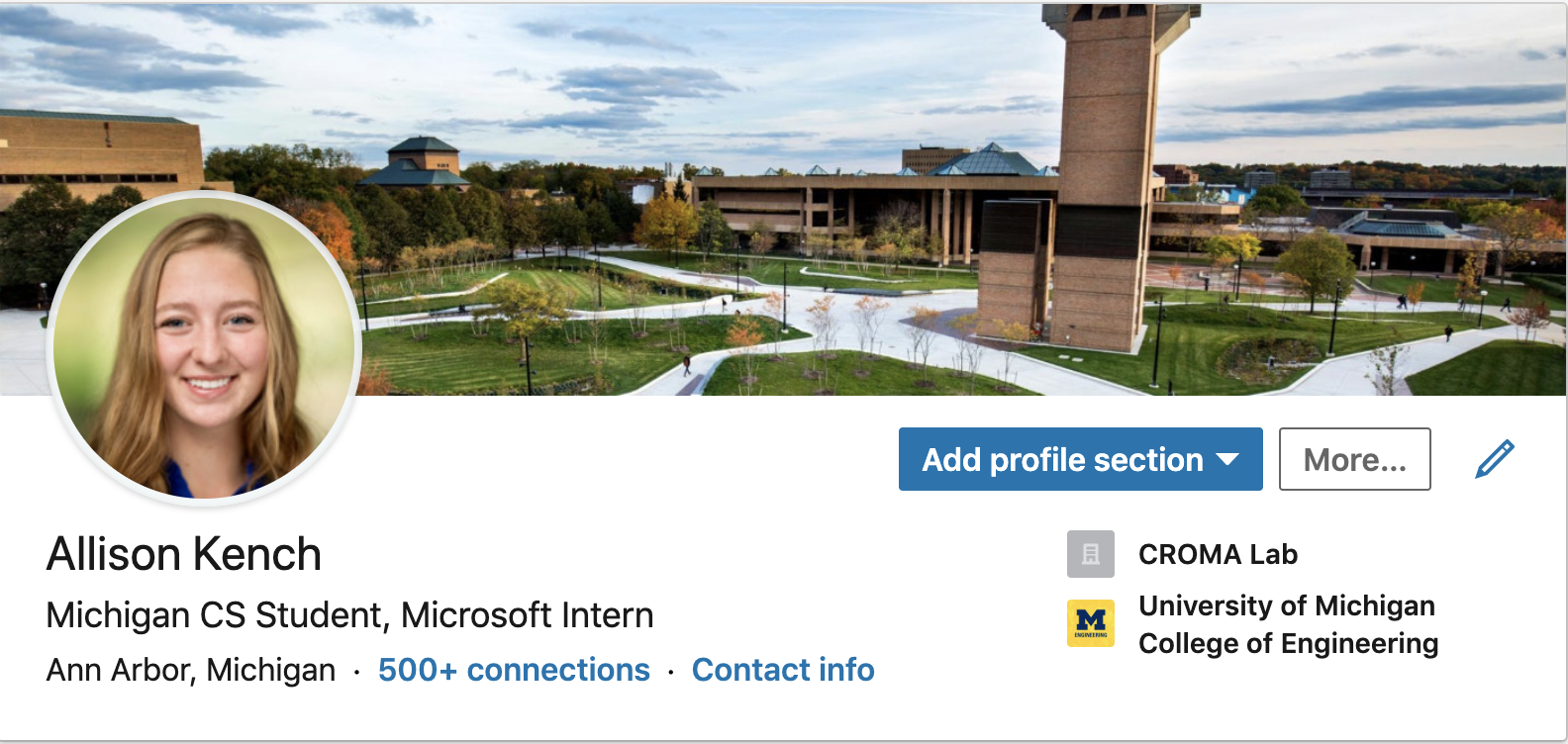 My LinkedIn header with my tagline, location, and college