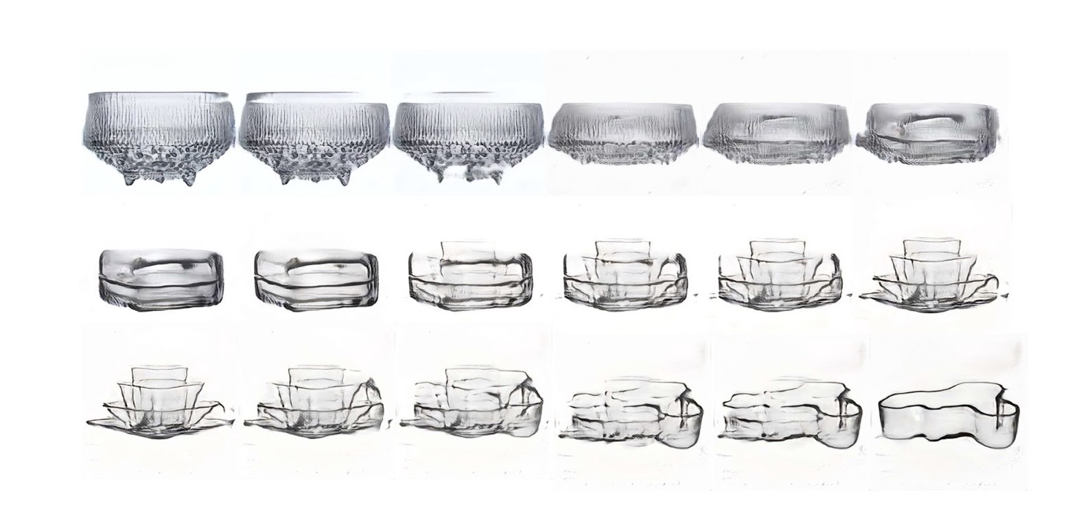 A series of images of one glass bowl gradually taking shape into a differently designed glass bowl
