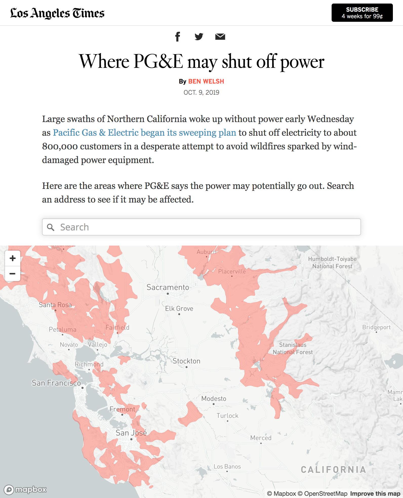 California power outages mapped by the L.A. Times - Points ... on north beach california map, riverside california map, sacramento california map, south central los angeles map, mn california map, all of california cities map, california capital map, gulf coast texas-louisiana map, brea california map, california california map, st. helena california map, chicago illinois map, alcatraz island california map, allendale california map, mc california map, los angeles and surrounding areas map, california los angeles metro map, no california map, los angeles neighborhoods map, nyc california map,