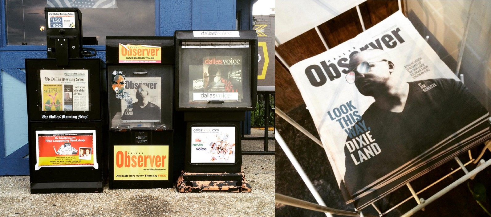 Photos of Dallas Observer newspapers on display in newspaper boxes and a tray.