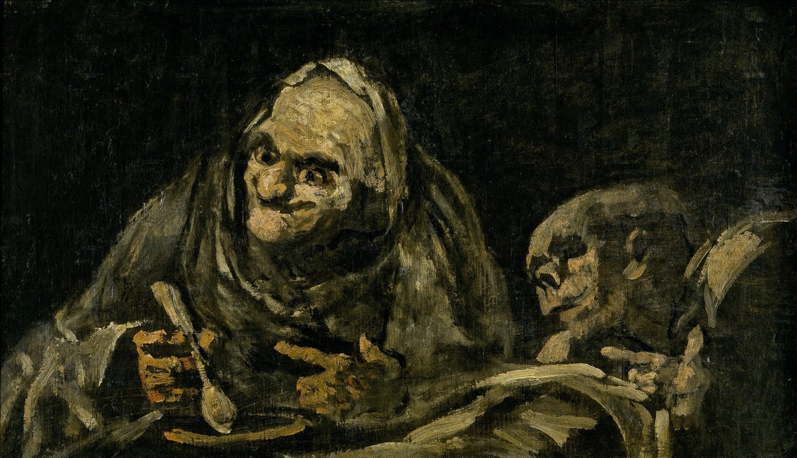 Old man with a horrible smile eating food