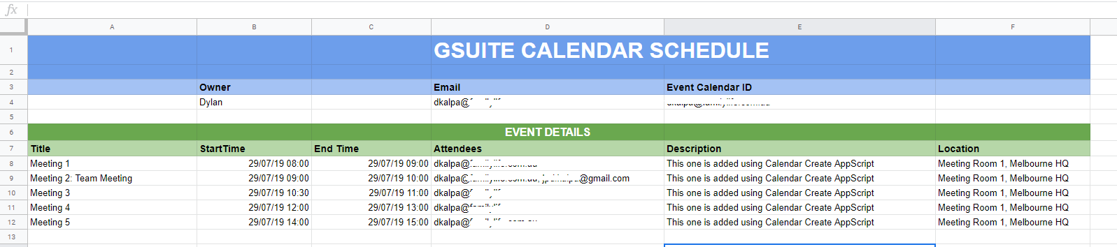 Creating Calendar Events Using Google Sheets Data With Appscript
