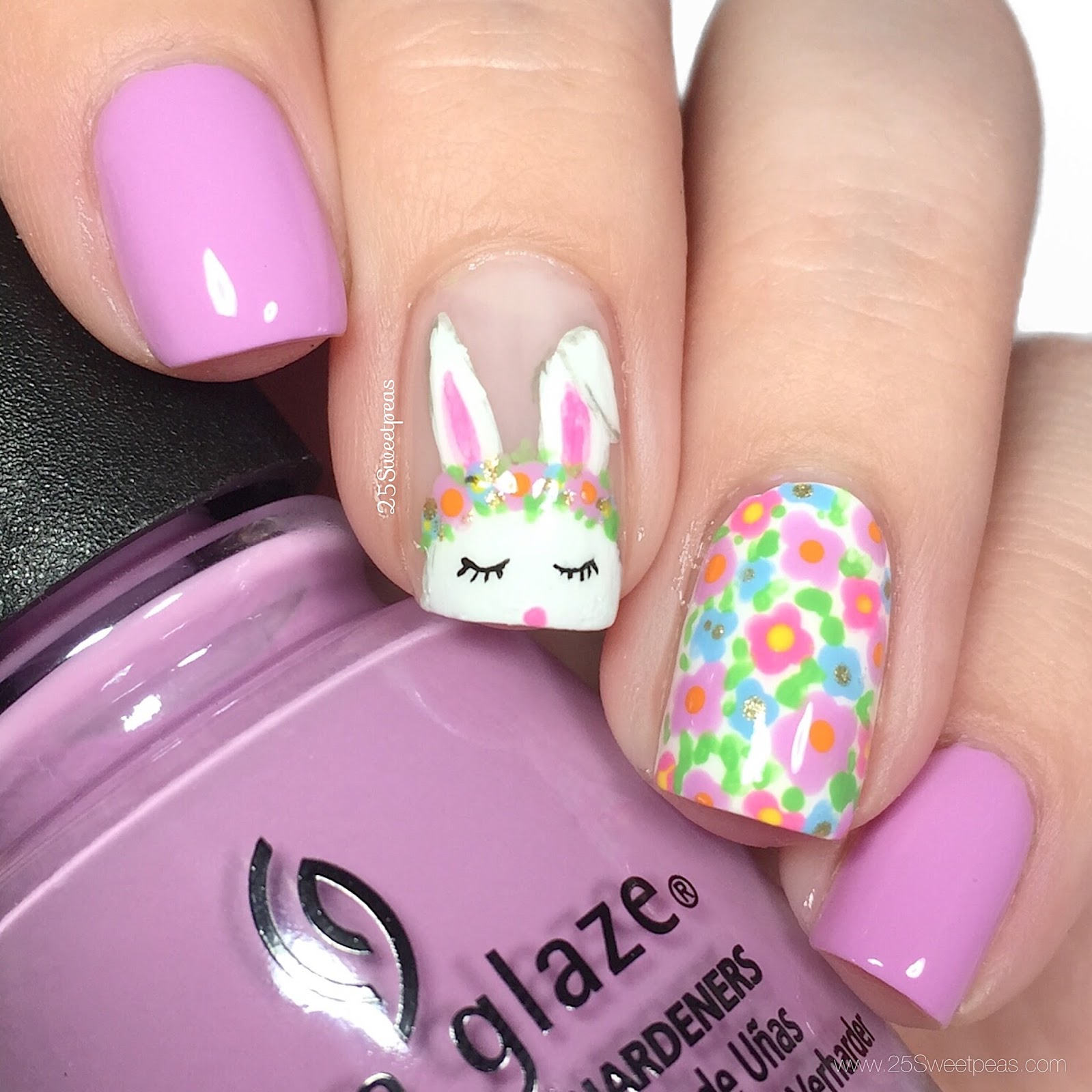 bunny nail design from @25sweetpeas