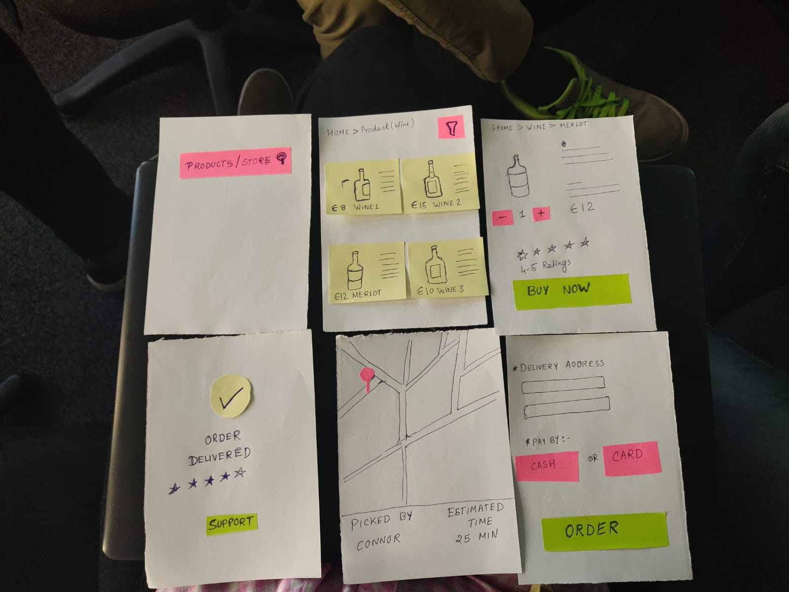 An image of Paper prototyping done in class