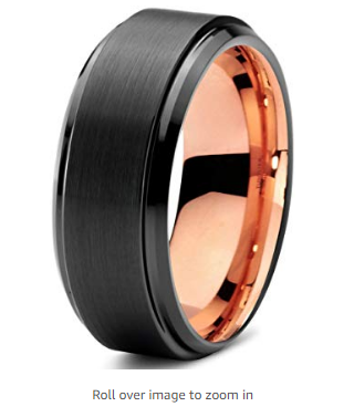 Midnight Rose Collection Tungsten Wedding Band Ring 4mm for Men Women 18k Rose Yellow Gold Plated Dome Off Set Line Black Grey Brushed Polished