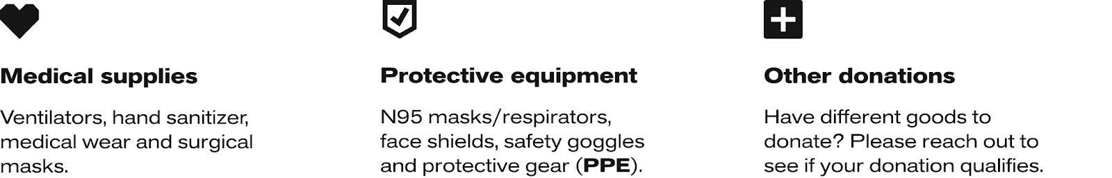 A list of qualifying items accepted in the Mothership Freight Support Program, like medical supplies and PPE.