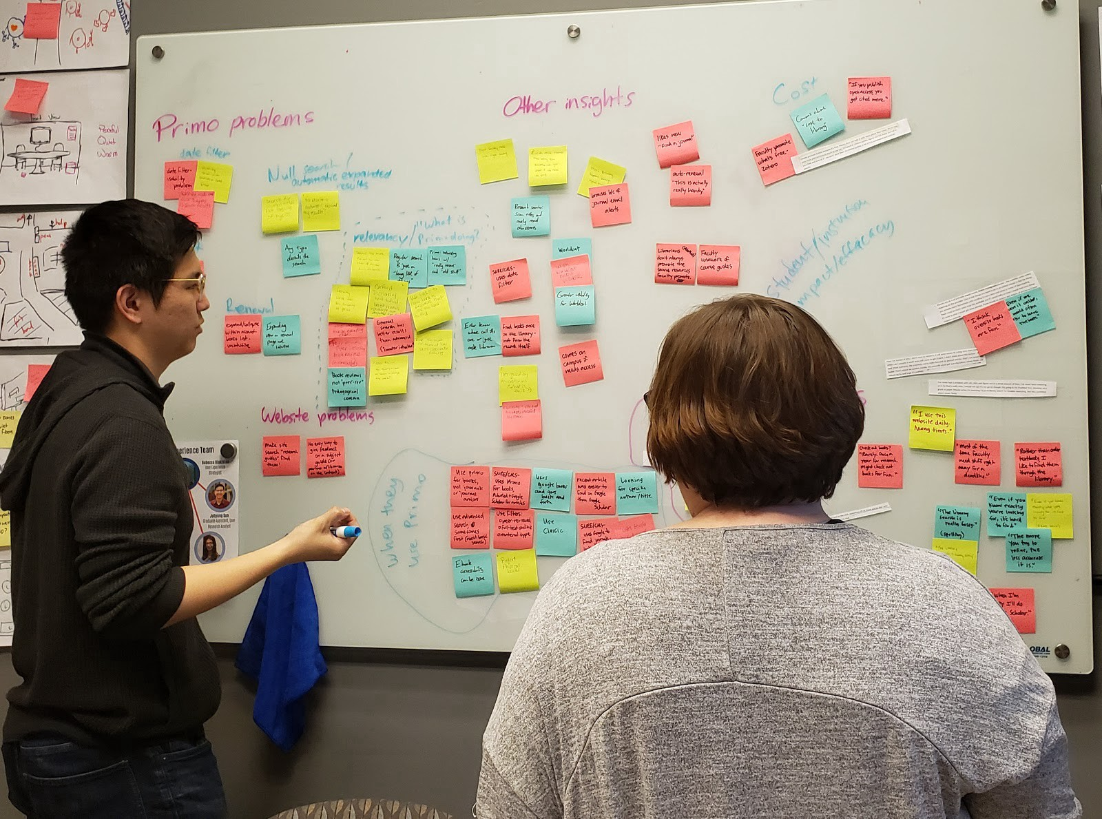 Two people standing in front of a white board with a bunch of sticky notes