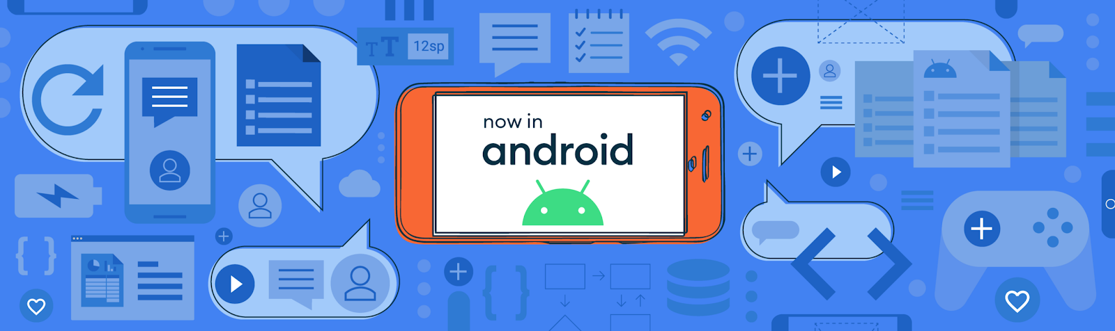 Now in Android text within a phone frame above an Android logo, surrounded by various callouts and UI elements.