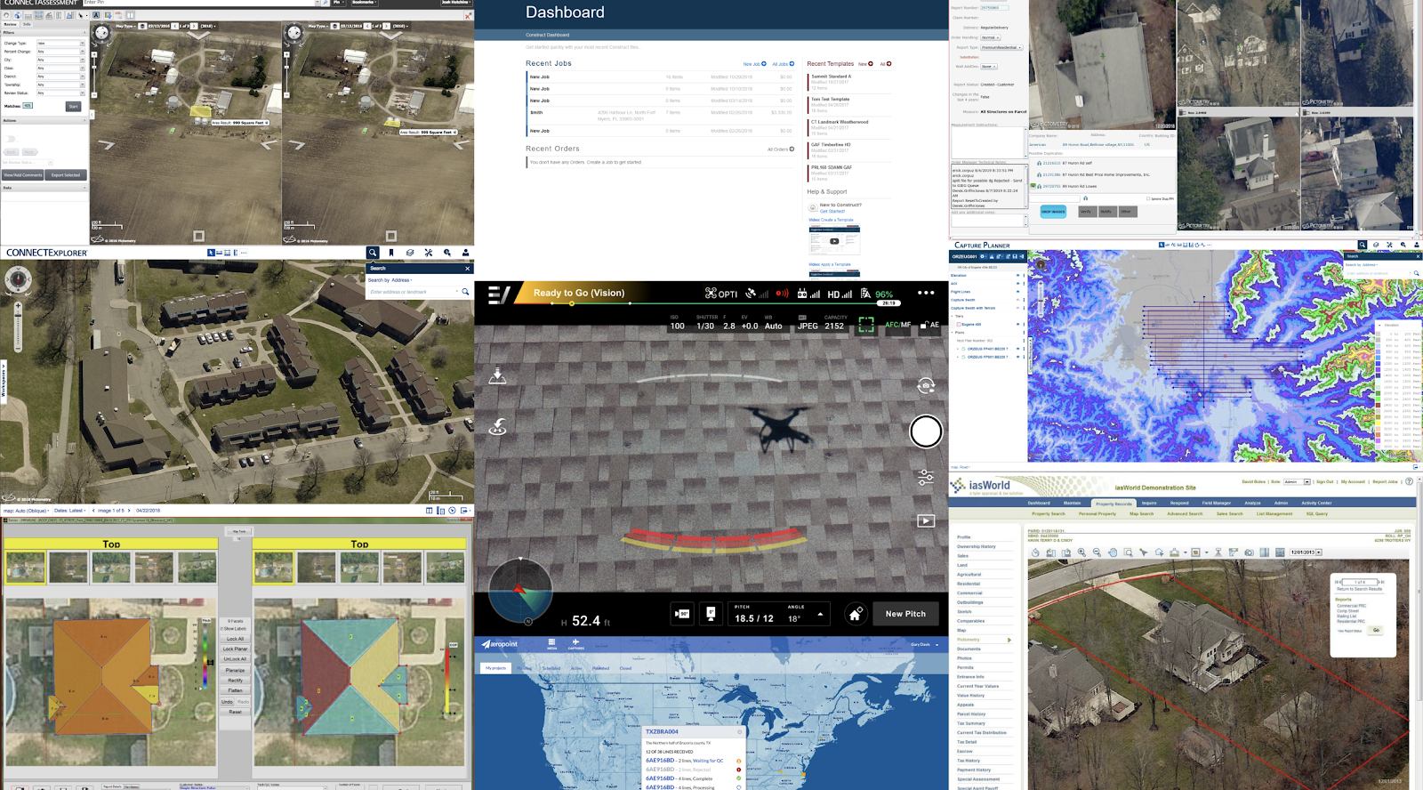 An array of UI screenshots from EagleView