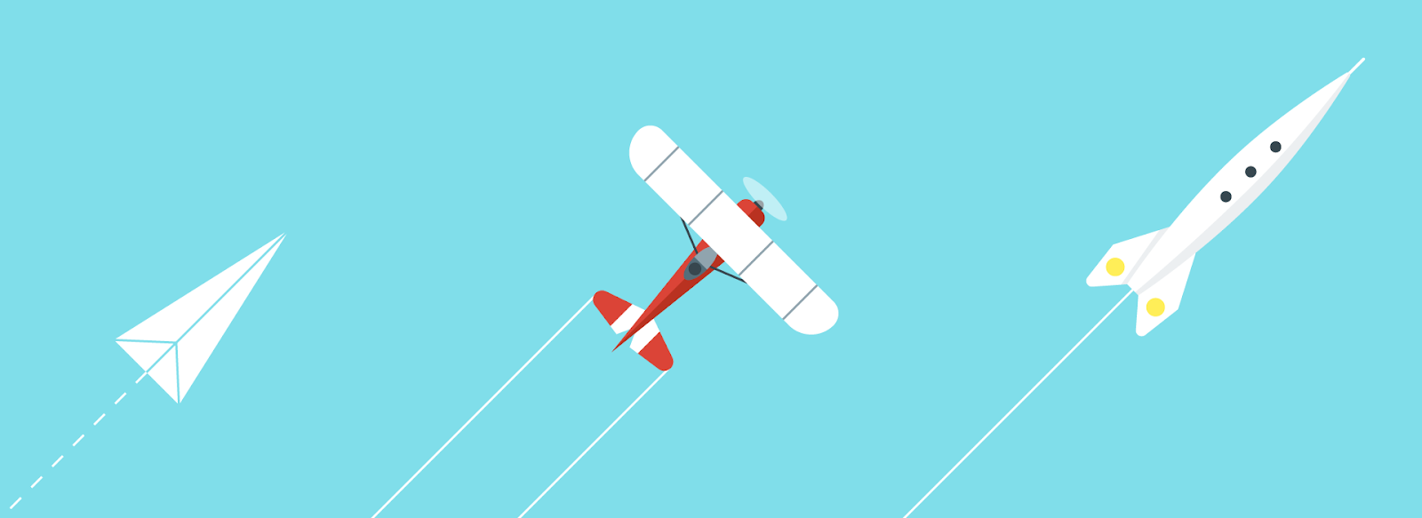 A Paper plane, propeller plane and rocket flying next to one another from bottom left to top right.