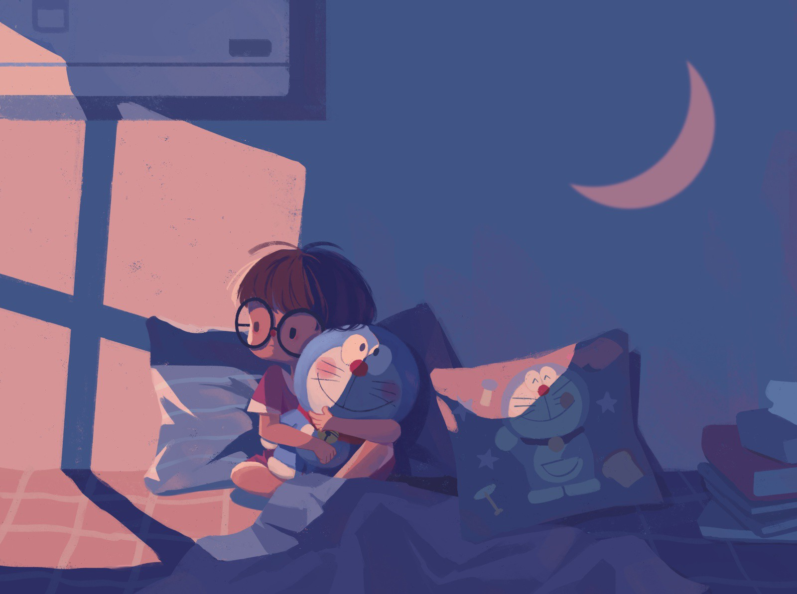 children in the bed