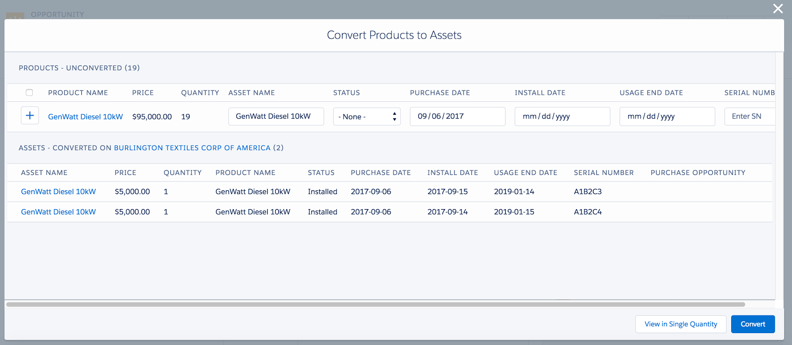 Our AppExchange 'Products to Assets Converter' Application