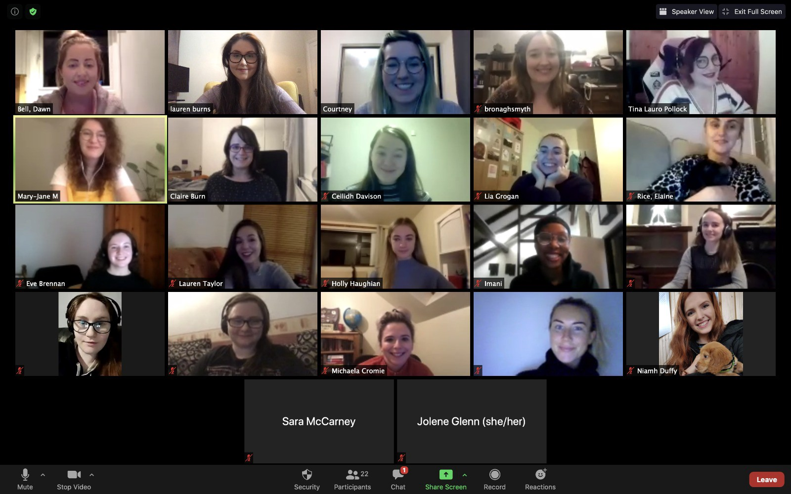 Zoom video call screenshot of women in the technology industry smiling at a digital meet-up