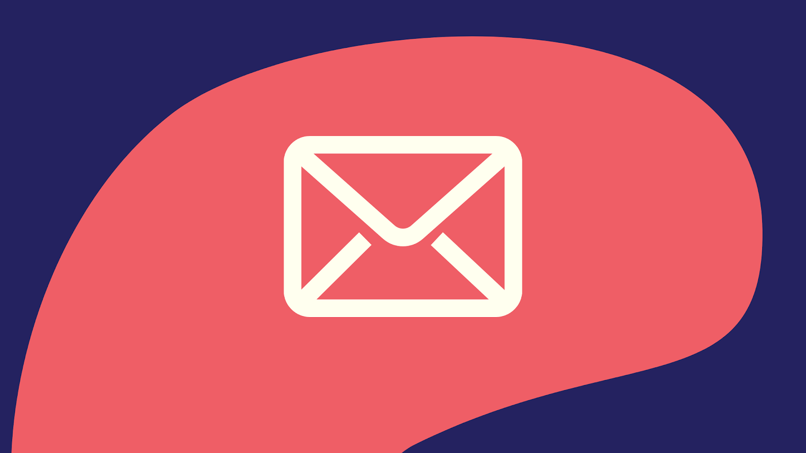Graphic of an email icon against and pink and blue background.