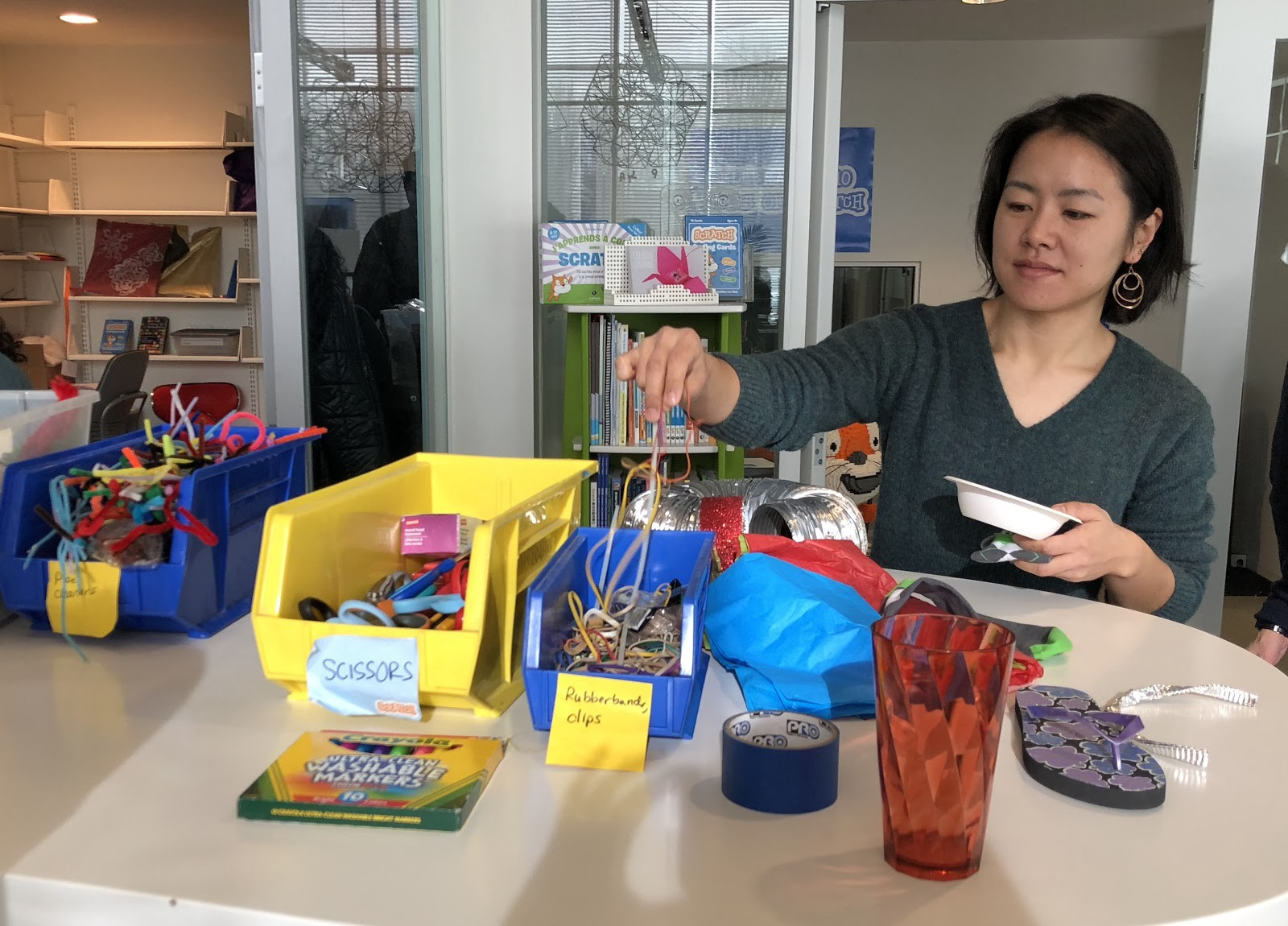 Basic workshop supplies: pipe cleaners, markers, scissors, rubber bands, and more!
