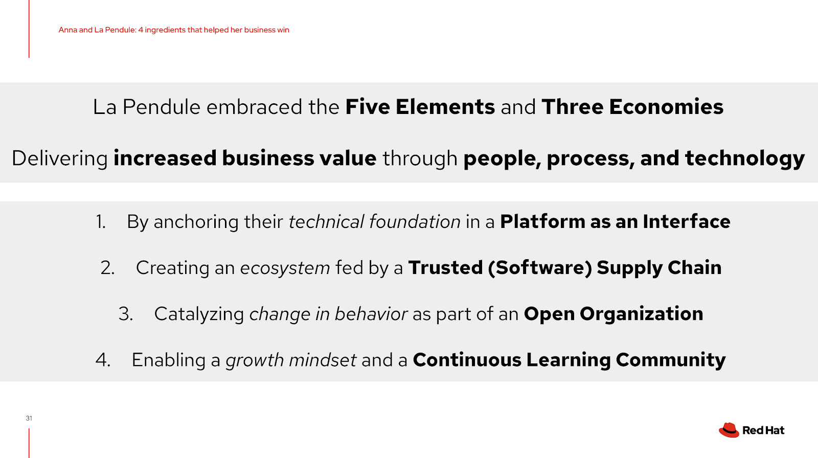 La Pendule embraced the 5 elements and 3 economies delivering increased business value through people, process and technology