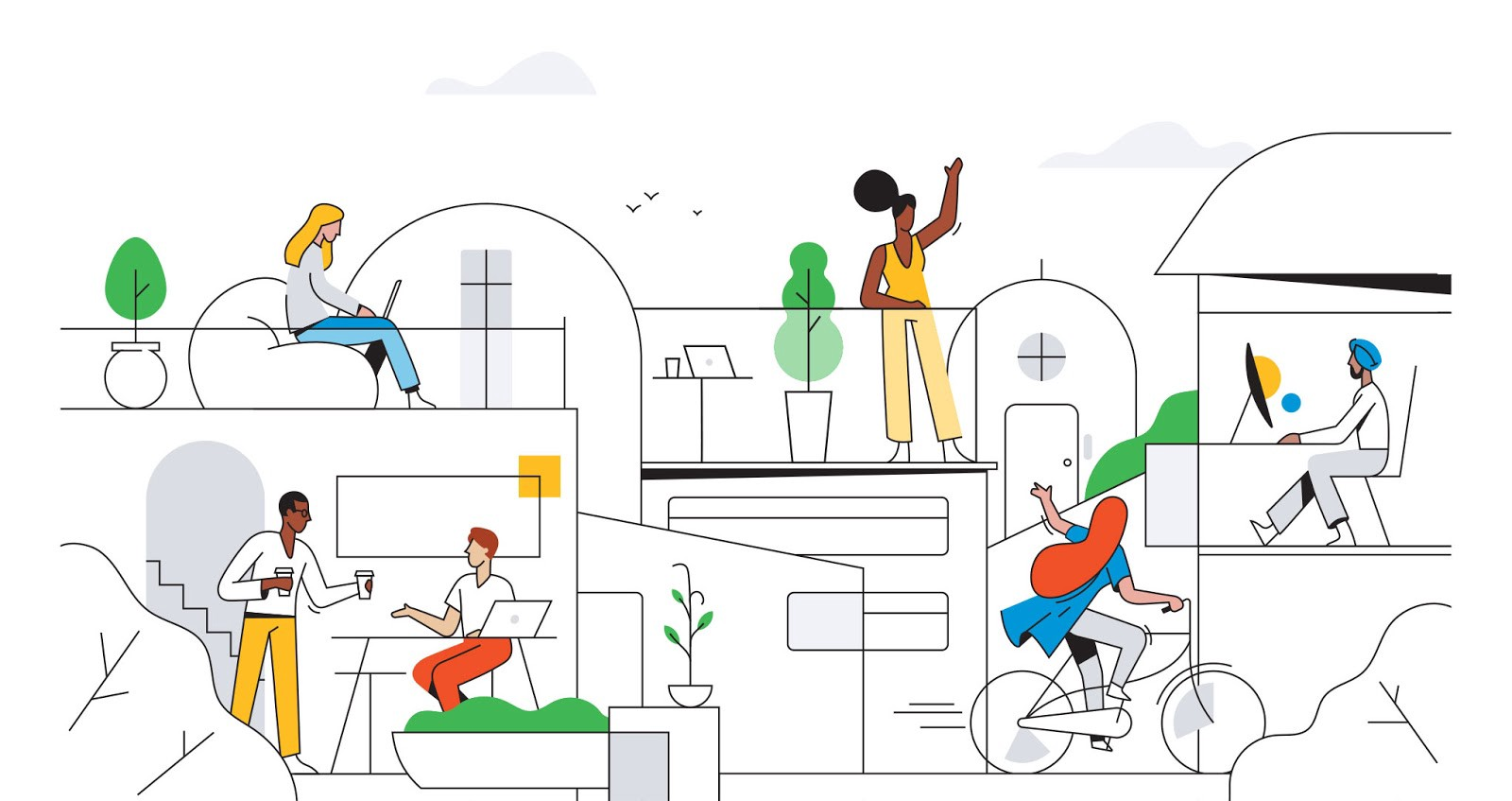 Illustration represents makers having a great experience. By Fireart studio for the Reach UX Welcome Kit.