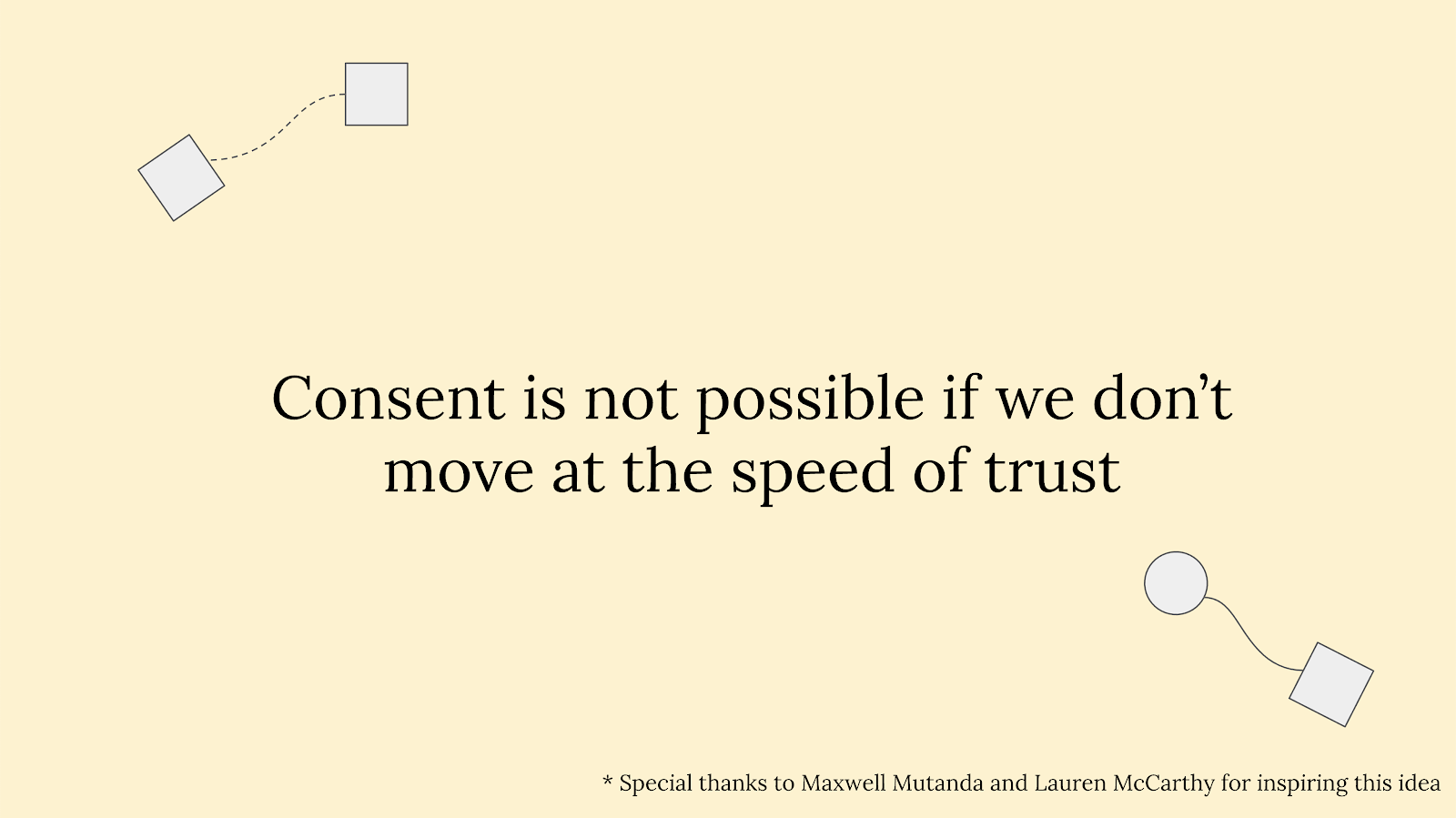 """Slide reading """"Consent is not possible if we don't move at the speed of trust"""" with circles and squares connected via w"""