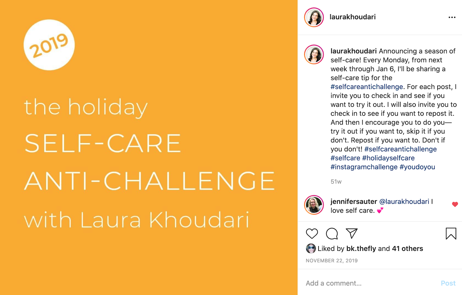 """instagram post an orange background and white text that reads """"2019 the holiday self-care anti-challenge with Laura Khoudari"""""""