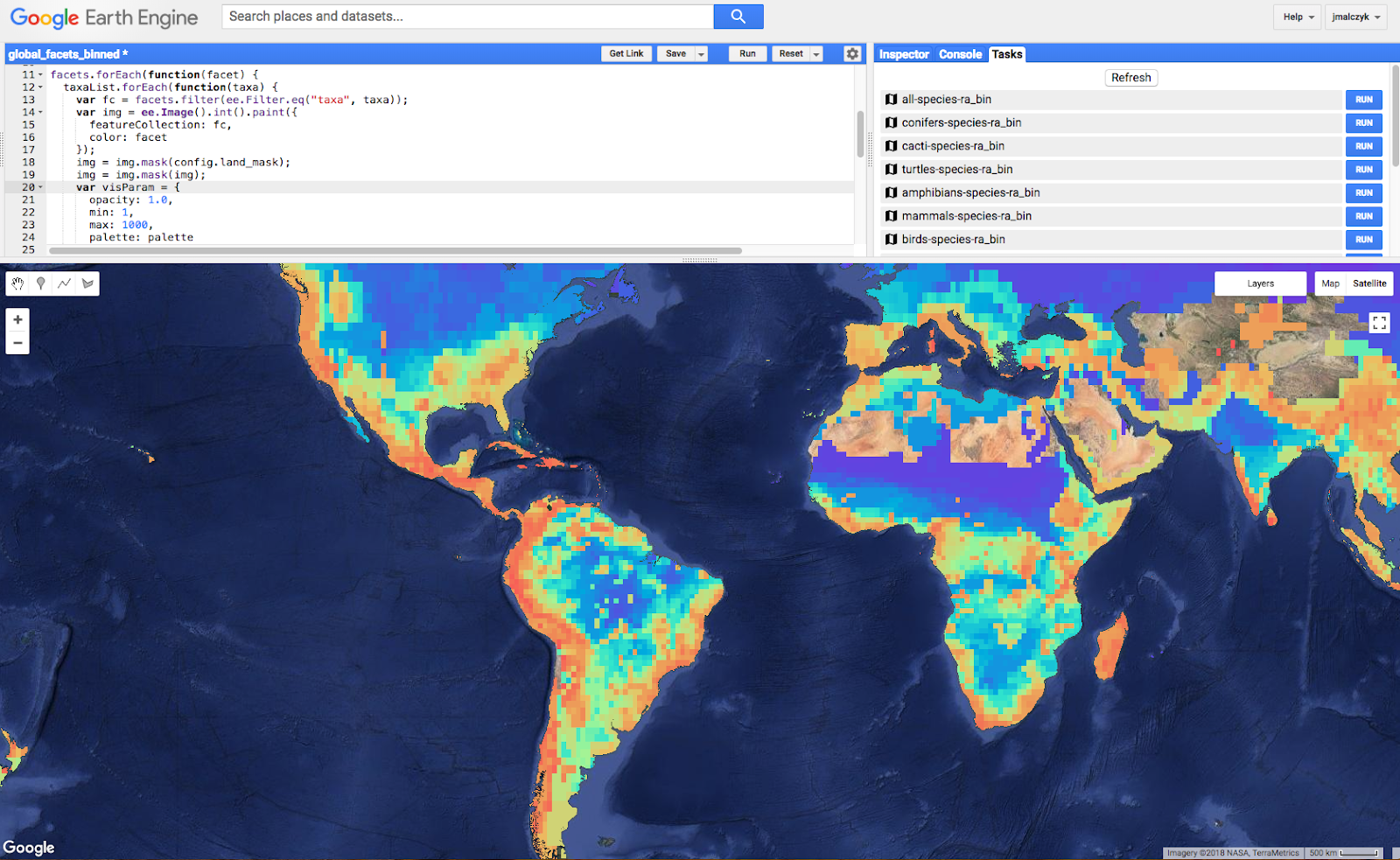 Mapping Species for Half-Earth - Google Earth and Earth