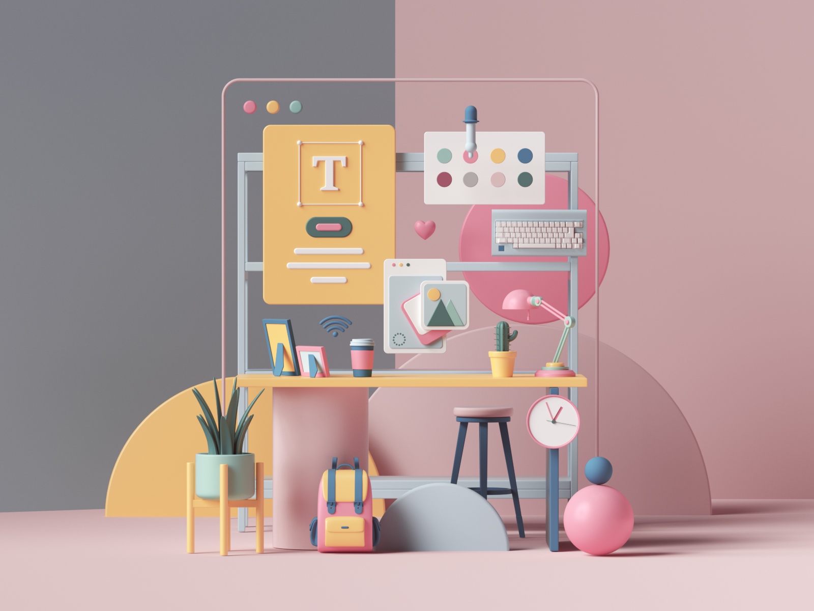 Picture of a desk with artistic props