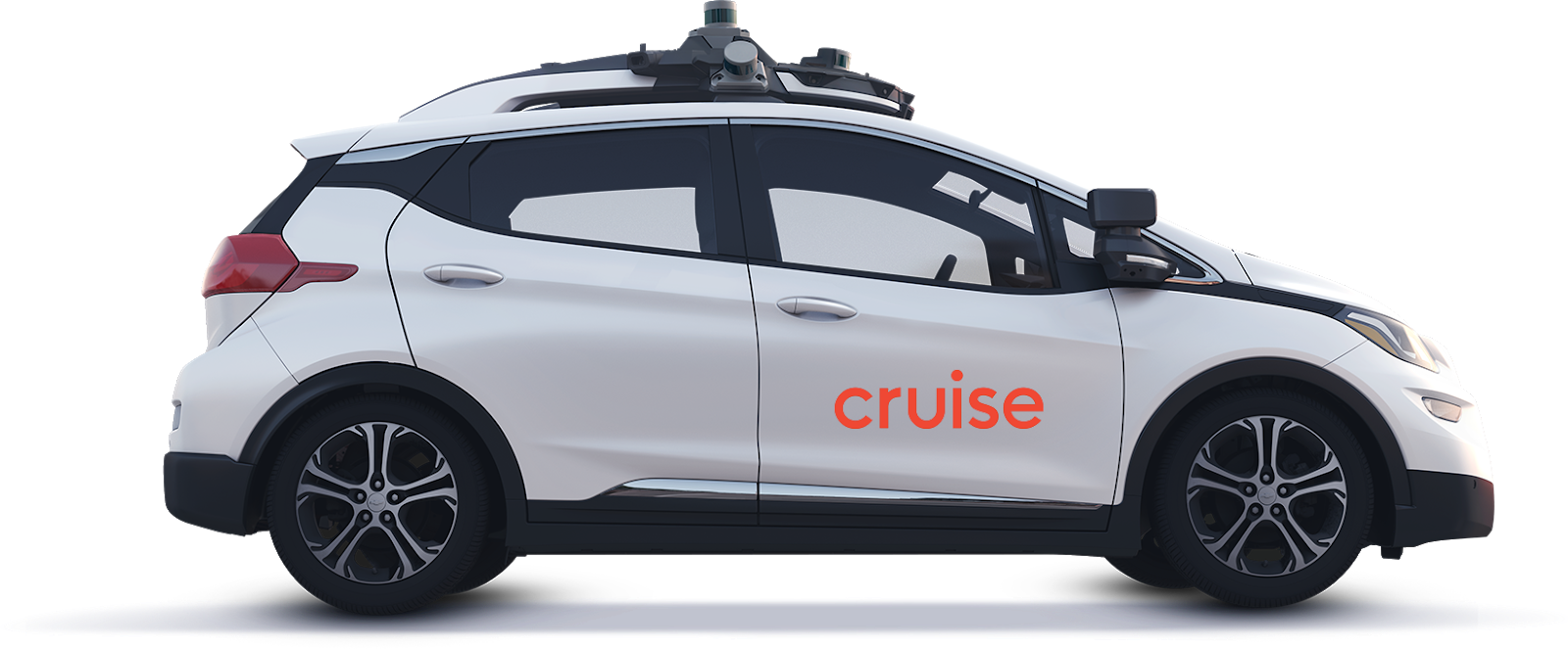 A Cruise self-driving car against a transparent background.