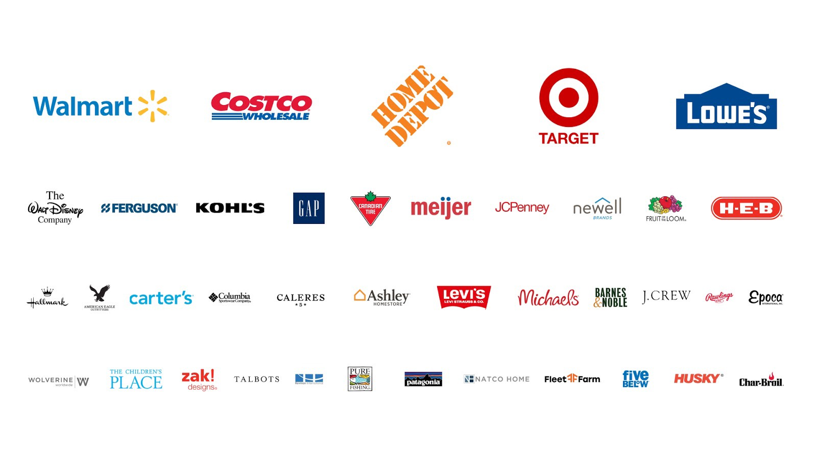 A list of SCAN members, including Walmart, Costco, Home Depot, Target, Lowe and others
