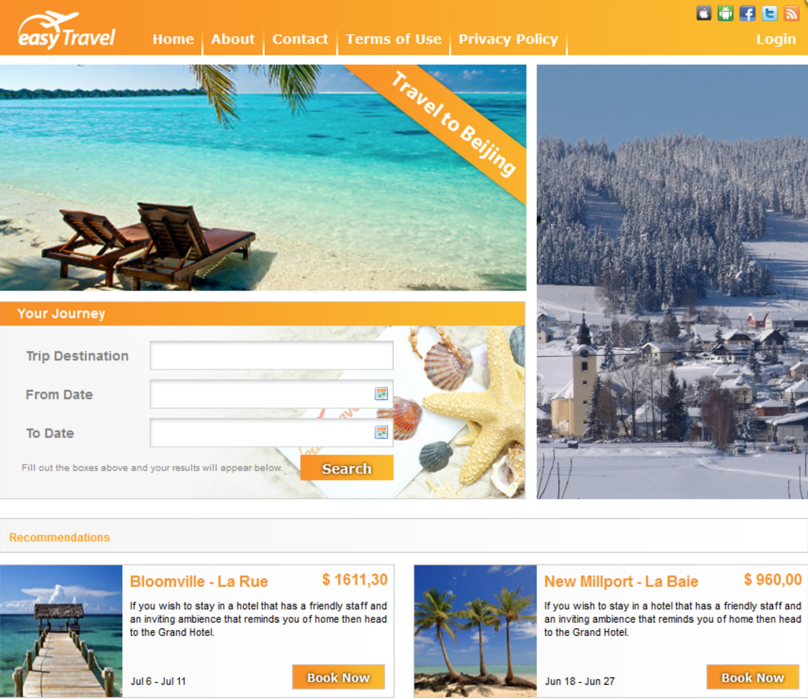 Dynatrace's Demo Application in OpsGenie Playground: easyTravel