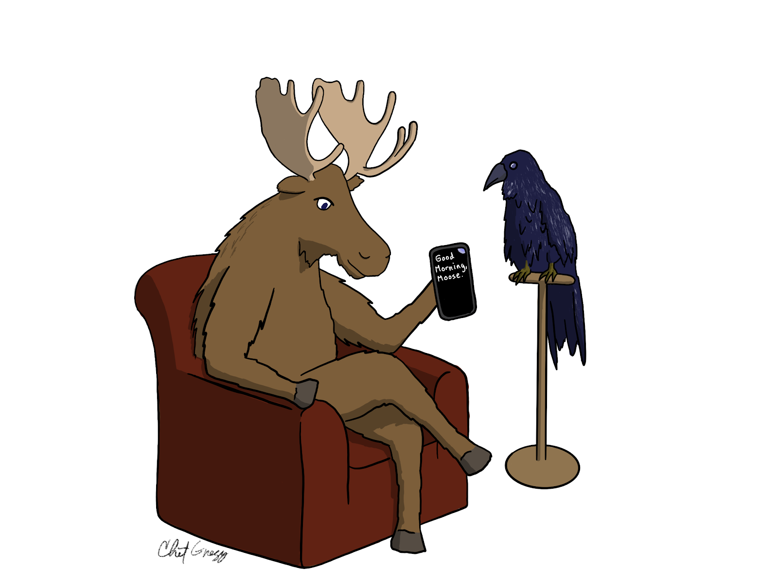 A moose is sitting on a couch holding a phone with Live Transcribe running on it . A raven, perched on a stand, watches her.