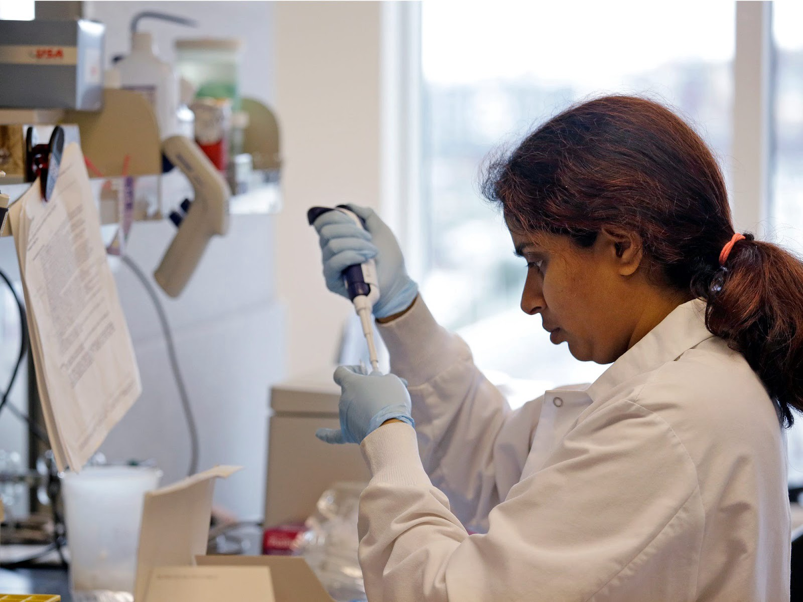 A research technician works in the immunotherapy research lab.