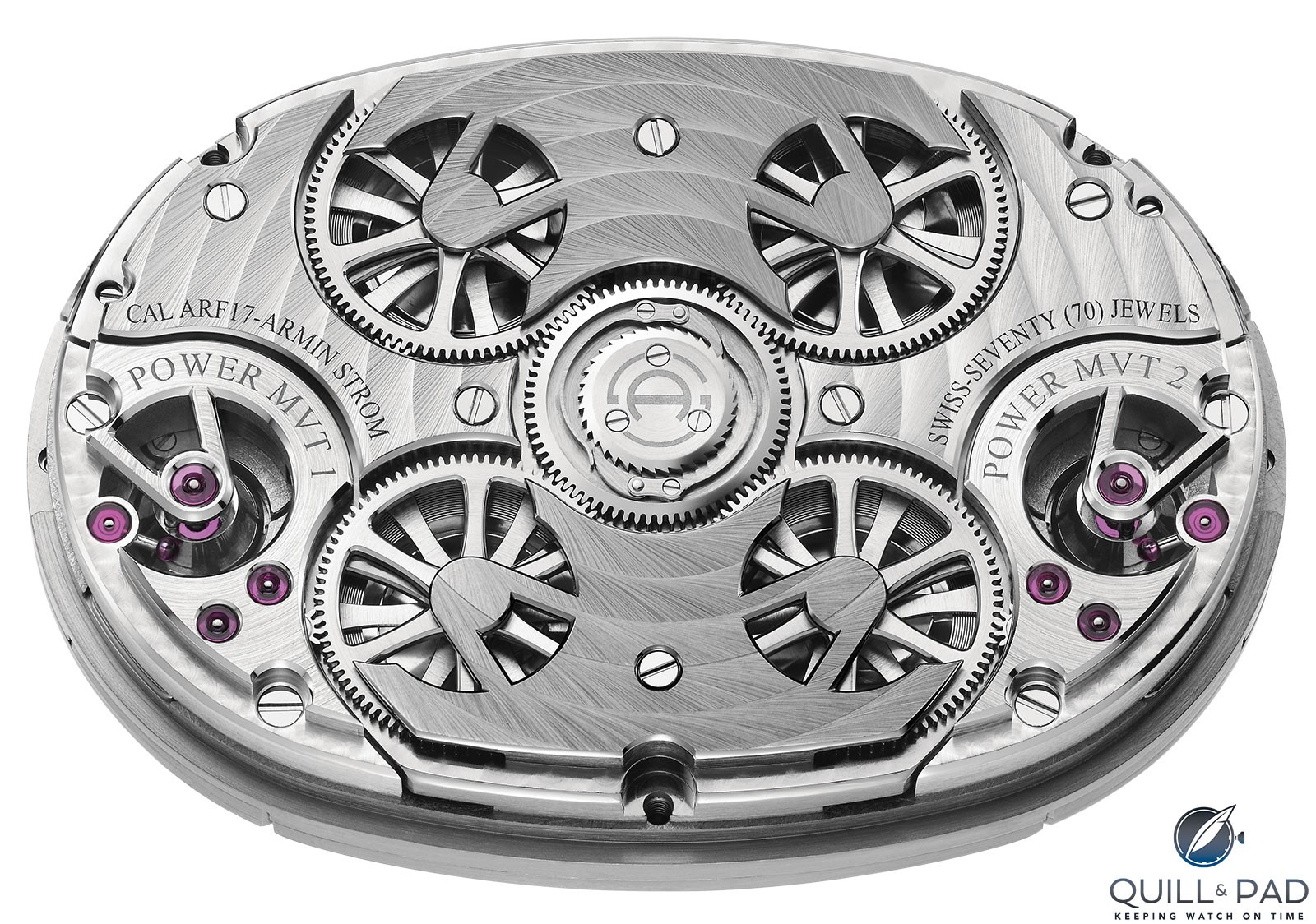 Armin Strom Dual Time Resonance Caliber ARF17 movment side with the four mainspring barrels - two for each movement - are on full display through skeletonized covers