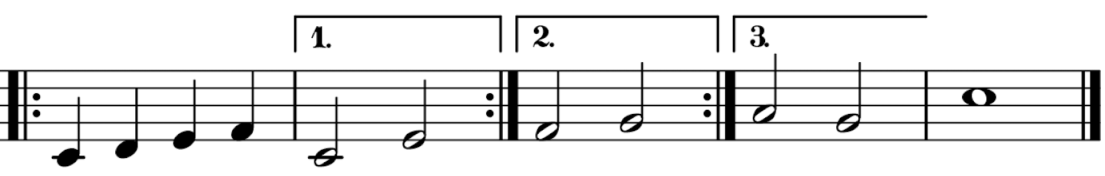 Musical Notation of 1st, 2nd, and 3rd endings