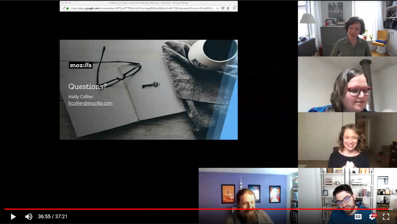 The videochat interface, showing the Lockwise for Android findings presentation and attendees' faces.