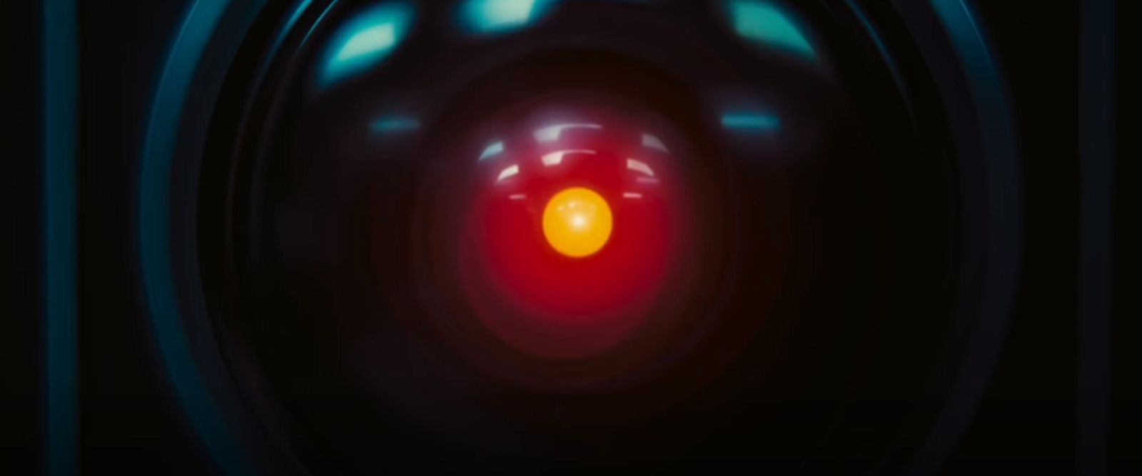 Closeup of the HAL-9000 camera lens with glowing red center